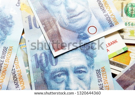 Swiss franc banknote / The franc is the currency and legal tender of Switzerland and Liechtenstein #1320644360