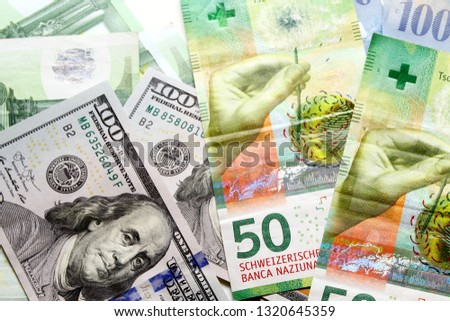 Swiss franc banknote / The franc is the currency and legal tender of Switzerland and Liechtenstein #1320645359