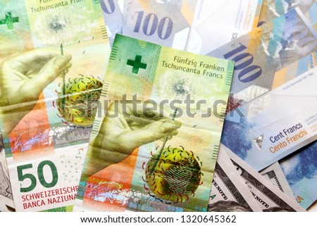 Swiss franc banknote / The franc is the currency and legal tender of Switzerland and Liechtenstein #1320645362