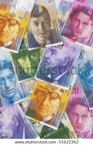 Swiss francs. Currency of Switzerland