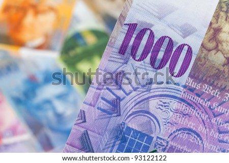 swiss francs. money from switzerland in europe