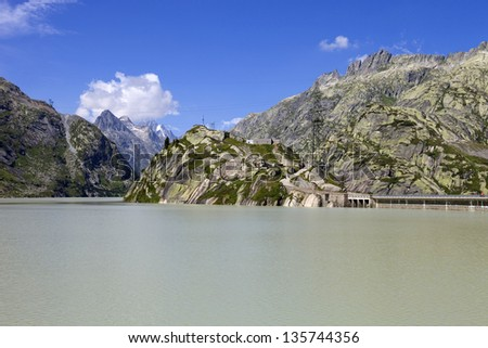 swiss lake at the top of the mountains, switzerland