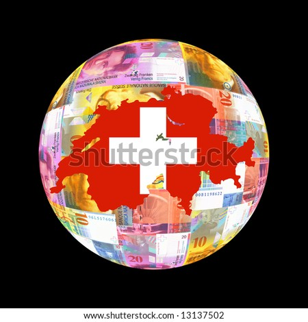 Swiss map flag on currency globe illustration