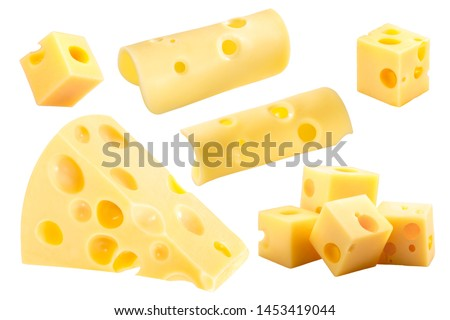 Swiss or Dutch holey cheese wedge, cubes and slices isolated on white