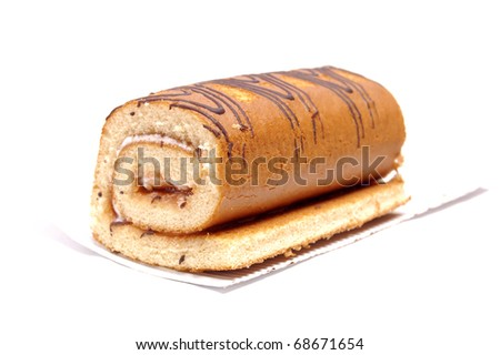 Swiss roll isolated on a white background