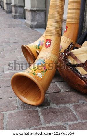 Swiss traditional music instrument - Alpenhorn