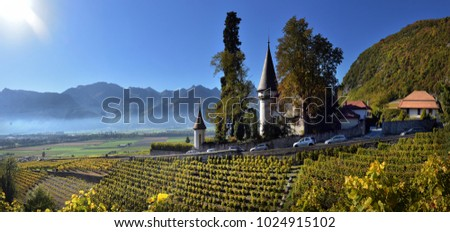 SWISS, YVORNE, 27 octobre 2017, Famous castle Chateau maison blanche  in canton Vaud, Switzerland, SWISS, YVORNE, 27 octobre 2017 #1024915102