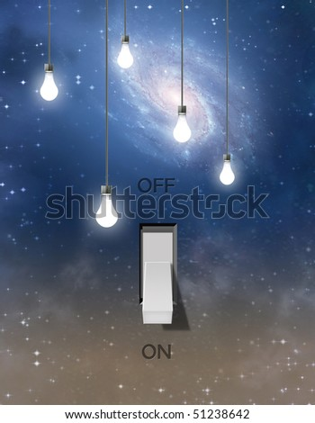 Switch and light bulbs and star filled sky