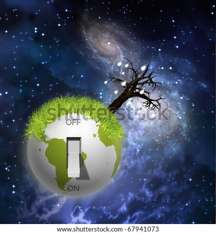 Switch on earth - stock photo