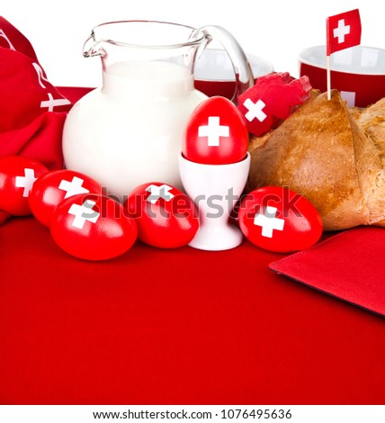 switzerland 1 august celebration day brunch with organic  eggs bread and swiss milk bio swiss quality symbol copy space traditional food day of switzerland