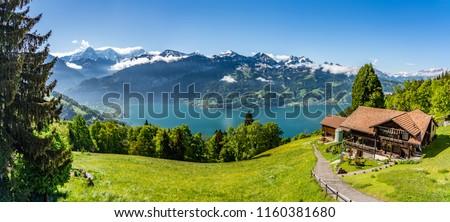 Switzerland, Beatenberg village buildings and alps view