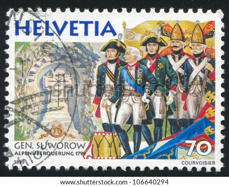 SWITZERLAND - CIRCA 1999: A stamp printed by Switzerland, shows Field Marshal Aleksandr Suvorov Alpine Campaign, circa 1999