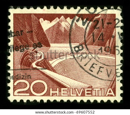 SWITZERLAND - CIRCA 1960:A stamp printed in SWITZERLAND shows image of The mining industry in Switzerland circa 1960