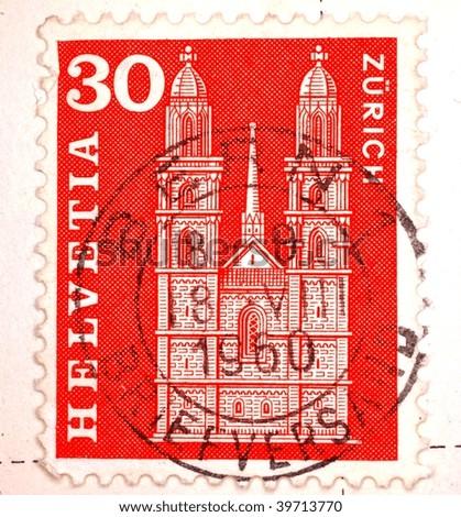 SWITZERLAND - CIRCA 1960: A stamp printed in Switzerland with a Bern postmark shows image of Zurich architecture, series, circa 1960