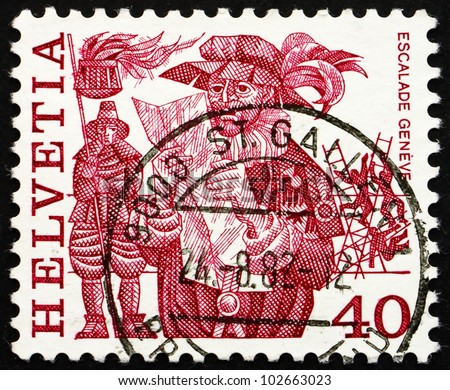 SWITZERLAND - CIRCA 1979: a stamp printed in the Switzerland shows Herald Reading Proclamation and Men Scaling Wall, Escalade, Geneva, Folk Customs, circa 1979