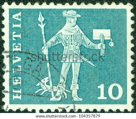 SWITZERLAND - CIRCA 1960: A stamp printed in the Switzerland shows Messenger of the country, Schwyz, circa 1960