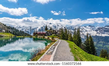 Switzerland, Engelberg, Shonegg lake with alps  #1160372566