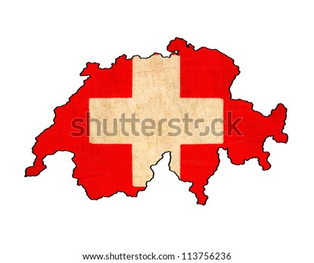 Switzerland map on Switzerland flag drawing ,grunge and retro flag series - stock photo