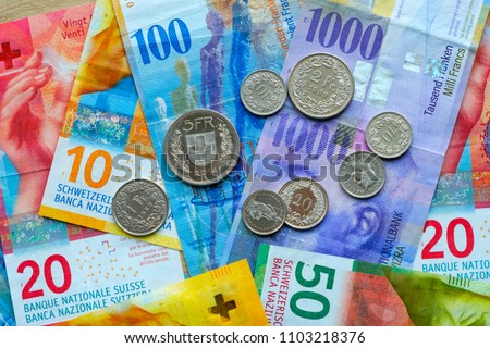Switzerland money banknotes and coins #1103218376