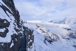 Switzerland mountain attraction, thrill walk at Birg, 2677m on the way to Schilthorn Piz Gloria, Lauterbrunnen in winter