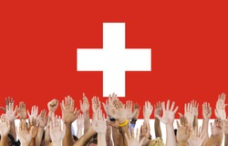 Switzerland National Flag People Hand Raised Concept