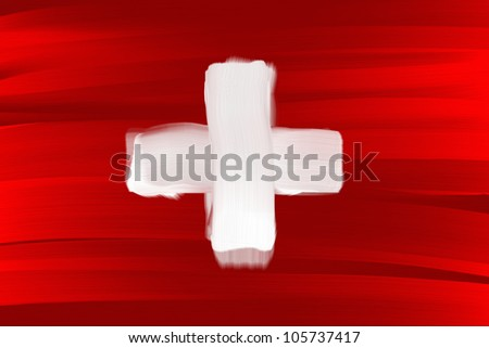 Switzerland national hand painted flag