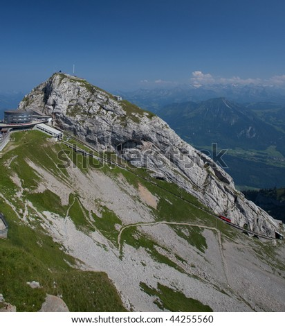 Switzerland (Pilatus mountain near Lucern with its cog train on a lovely summer day)