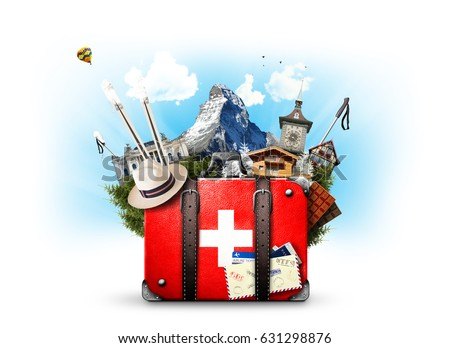 Switzerland, retro suitcase with the sights of Switzerland - Shutterstock ID 631298876
