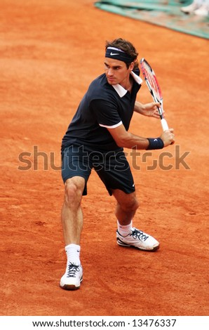 Switzerland?s top ranked tennis player Roger Federer during the match at Roland Garros 2008 (French Open), Paris. - stock photo
