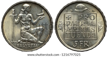 Switzerland Swiss silver coin 5 five francs 1936, subject Confederation Armament, kneeling female figure holding sword and dove, inscription within square, modern helmet above divides date,