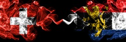 Switzerland, Swiss vs Benelux smoky mystic flags placed side by side. Thick colored silky abstract smoke flags.