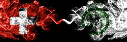 Switzerland, Swiss vs United States of America, America, US, USA, American, Pee Pee Township, Ohio smoky mystic flags placed side by side. Thick colored silky abstract smoke flags.