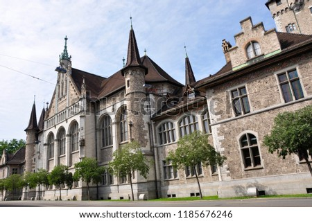 Switzerland: The historic building of the swiss national museum in Zürich city