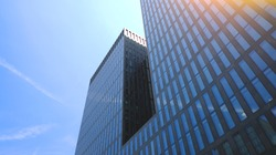 Switzerland: Zurich financial district, building with big glass windors. Bank offices. Corporate/finance concept image.