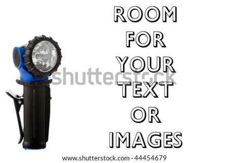swivel head flashlight isolated on white with room for your text
