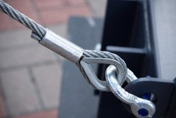 Swivel joint and connection with a steel cable when installing the structures outdoor close-up