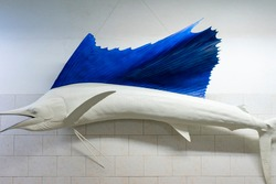 Sword fish oceanic fisherman trophy reconstruction mounted on a wall.