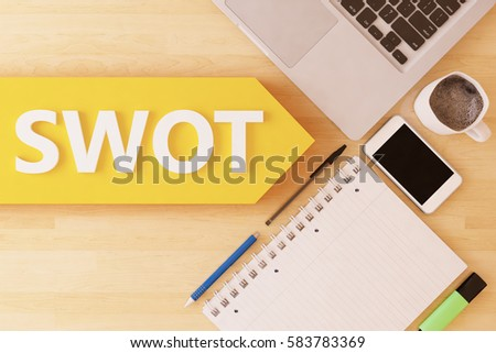 SWOT for strengths, weaknesses, opportunities and threats - linear text arrow concept with notebook, smartphone, pens and coffee mug on desktop - 3d render illustration.