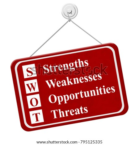 SWOT sign, A red hanging sign with text SWOT Strengths Weaknesses Opportunities Threats isolated over white