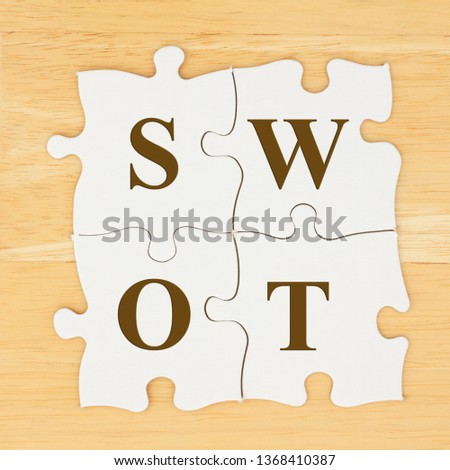 SWOT Strengths, Weakness, Opportunities, Threats on puzzle pieces on textured desk wood
