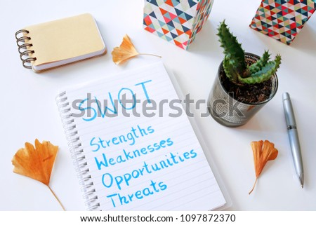 SWOT Strengths Weaknesses Opportunities Threats written in notebook on white table