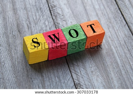 SWOT (SWOT analysis) text on colorful wooden cubes