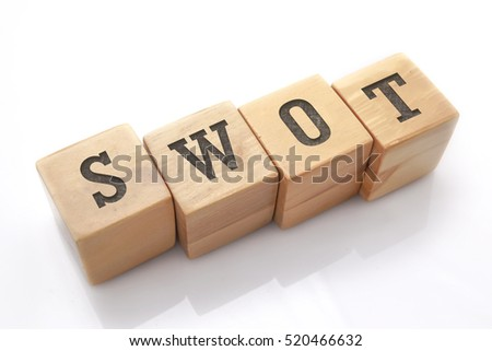 swot word made with building blocks isolated on white