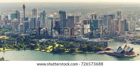 Sydney aerial skyline, Harbour area.