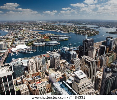 sydney aerial veiw from Sydney Tower west Darling harbour water yachts buildings skyscrapers sky color