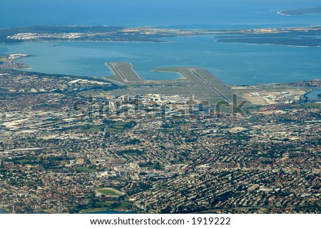 sydney airport area, aerial view
