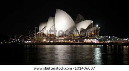SYDNEY - APRIL 14: Sydney Opera House view on April 14, 2012 in Sydney, Australia. The Sydney Opera House is a famous arts center. It was designed by Danish architect Jorn Utzon, opening in 1973.