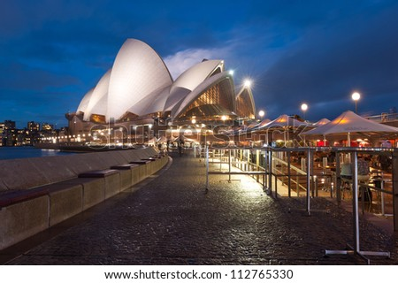 SYDNEY - APRIL 19: The Iconic Sydney Opera House is a multi-venue performing arts centre also containing bars and outdoor restaurants. April 19, 2012 in Sydney, Australia.