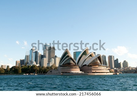 SYDNEY - August 19: View of the Sydney Opera House and Sydney skyline from Sydney Harbour on August 19, 2010 in Sydney, Australia. #217456066