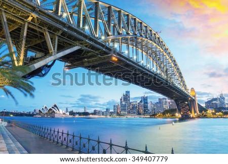 stock photo sydney australia amazing skyline at dusk 349407779 - Каталог — Фотообои «Мосты»